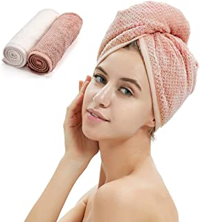 2 Pack Hair Turban Towel, Thickened Dry Hair Towel Cap with Loop and Button Fastener,Absorbent Microfiber Hair Quick Dry f...
