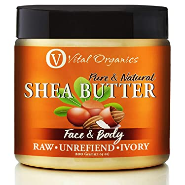Vital Organics Shea Butter Raw Organic Unrefined for Skin, Body, Lips and Hair – Natural Raw Organic and Unrefined. No Added Scents or Preservatives No Additives (200 Grams)