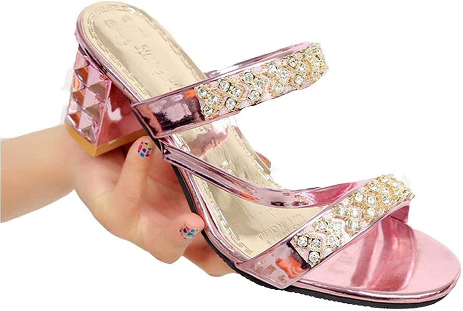 Ghapwe Womens Ladies Fashion Open Toe High Heels Sparkly Sandals Drill Slides for Wedding Party Evening shoes Girl Elegant Girl Rubber Sole Leg Length Leg Length golden 8 M US Sandals shoes