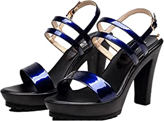 lcky One-Button Buckle with Women's Shoes Platform high Heel Thick Heel Sandals