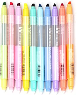 Pack of 10 Highlighters Erasable Double Head Pen Chisel Tip Assorted Colors Markers Felt tips Double-end Highlighter Pen P...