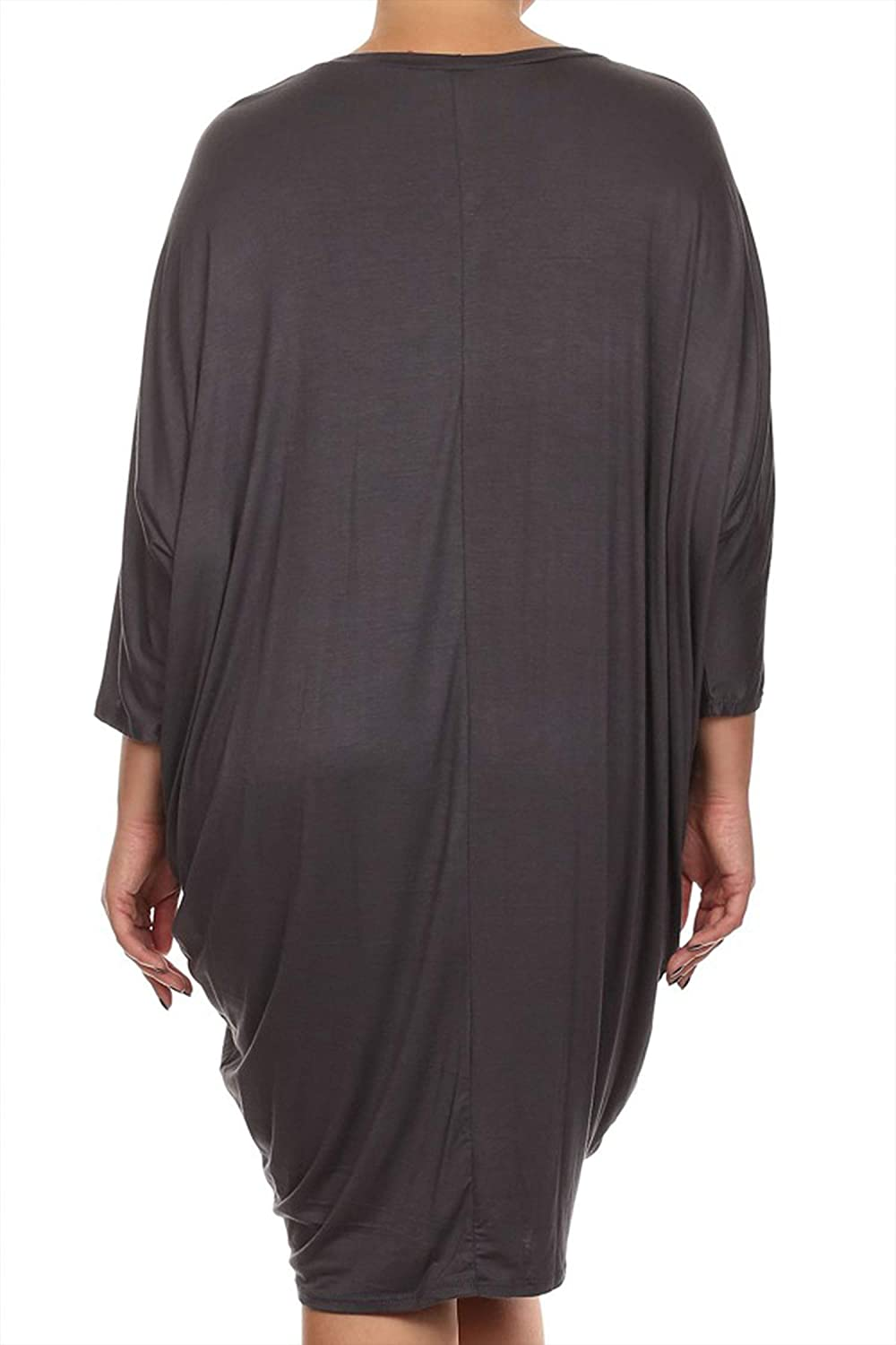 Women's Plus Size Solid Loose Fit 3/4 Dolman Sleeve Casual Midi Dress/Made in USA