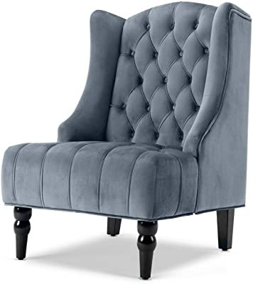 Hebel Wingback Accent Chair Tall High Back Living Room Tufted Nailhead - Gray/Beige |
