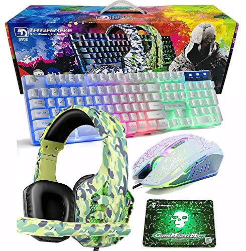Gaming Tastatur-Maus-Headset-Mauspad Combo Set 4 in 1 LED Regenbogen Hintergrundbeleuchtung Weiß Gaming Keyboard Wasserdicht Set für PC/Computer/Laptop/Xbox / PS4 und mehr