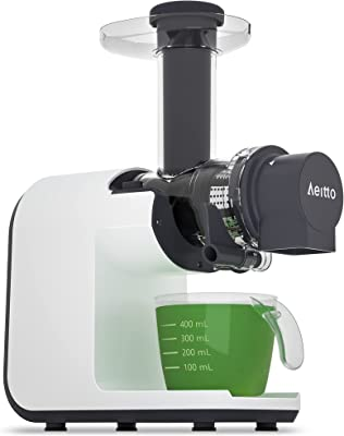 Juicer Machines, Aeitto Slow Masticating Juicer, BPA Free Slow Juicer Easy to Clean,Cold Press Juicer Extractor with Quiet Motor & Reverse Function, Masticating Juicer Machine for Vegetable and Fruit