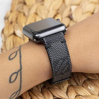 Handmade Apple Watch Band Re-Purposed Damier Graphite for Apple Watch Series 1, 2, 3, 4, 5