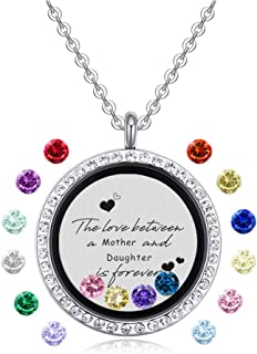 Feilaiger Inspirational Words Necklace, Greetings Words Necklace, Graduation Gifts Floating Charm Living Memory Locket Pendant Necklace with Birthstone
