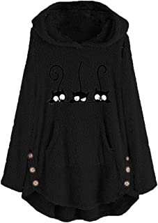 Women Hoodie Women Sweater Elegant Sweet Loose Monochrome Cartoon Pattern Print Plush Jacket Autumn and Winter New Warm Fl...