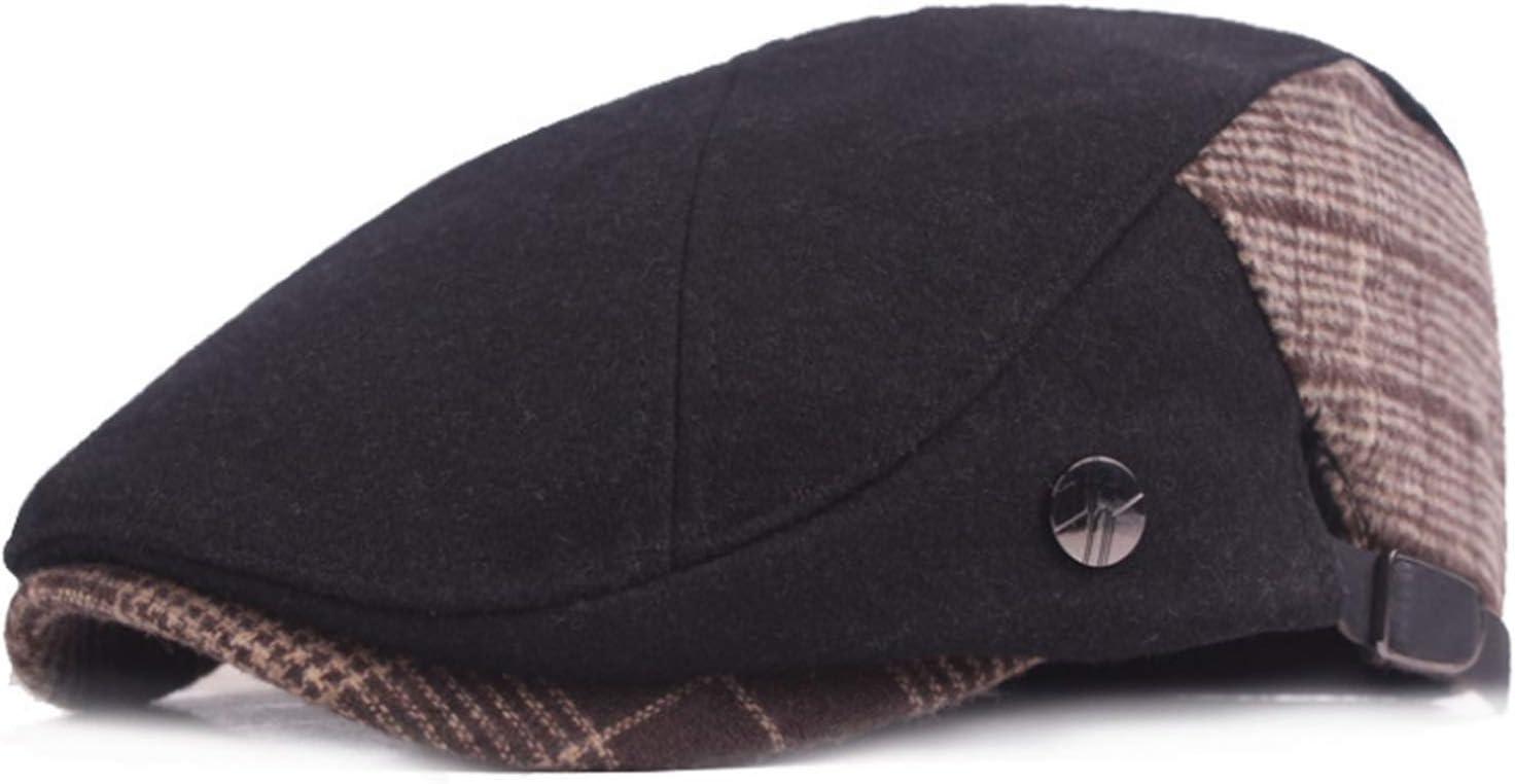 JUNMIN Men's Woolen Vintage Beret Middle-Aged Winter Hat (Color : Black)