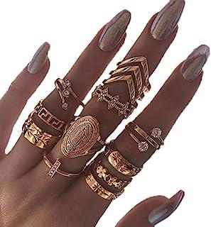 حلقه های کریستال انگشتان مفصل Edary Vintage حک شده حلقه های طلای زنانه و دخترانه (13PCS)