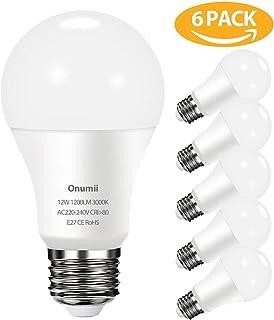 Bombilla LED E27 12W, 1200 lúmenes equivalente a 100W, Luz Blanca Cálida 3000K, No Regulable, Pack de 6