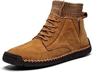 AiHua Huang Combat Boots for Men Snow Boots Lace up Elastic Sock Collar Genuine Leather Fleece Inside Flat Waxy Shoelaces Lug Sole Warmth Round Toe (Color : Gold, Size : 9.5 UK)