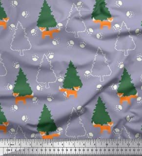 Soimoi Gray Rayon Crepe Fabric Tree,Footprint & Fox Cartoon Fabric Prints by Yard 46 Inch Wide