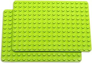 INIBUD 基礎板 ブロック プレート デュプロと互換性 角が丸い 16×12ポッチ 2枚セット ライトグリーン