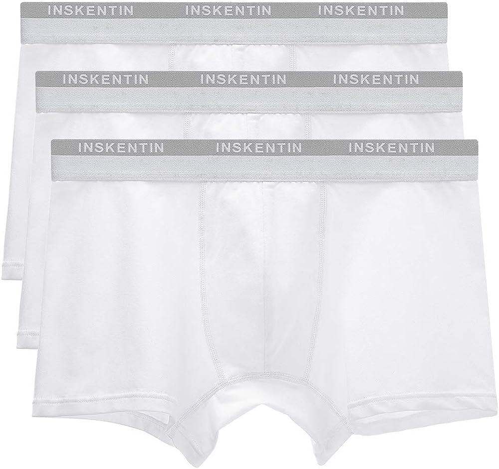 Inskentin Men's 3 Pack Low Rise Cotton Trunks Slim Fit Contour Pouch Sexy Underwear