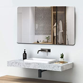 Quality Glass Frameless Wall Mirror (Glass_Silver_18 x 24 Inch)