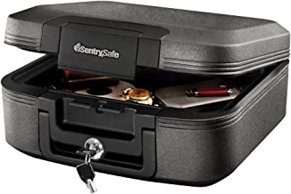 SentrySafe CHW20221 Fireproof Box and Waterproof Box with Key Lock 0.28 Cubic Feet,Charcoal Gray