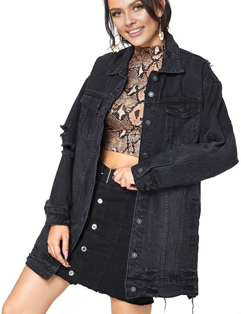 HUITAILANG Denim Jacket,Women Vintage Black Hole Punk Long Jean Jacket,Fashion Coat
