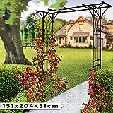 Rosenbogen aus Stahl - in Schwarz, 151 x 204 x 51 cm - Torbogen, Rankenbogen, Rosenspalier, Rankhilfe, Rosenhilfe, Gartenbogen