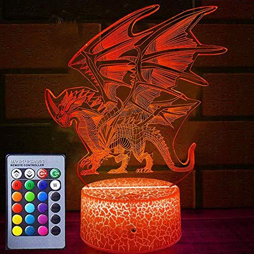 Drachen-Nachtlicht für Kinder, Drachen-Spielzeug, 16 Farben, mit Fernbedienung, 3D-optische Illusion, Kinderlampe, Weihnachten, Geburtstag, Geschenke für Jungen und Mädchen