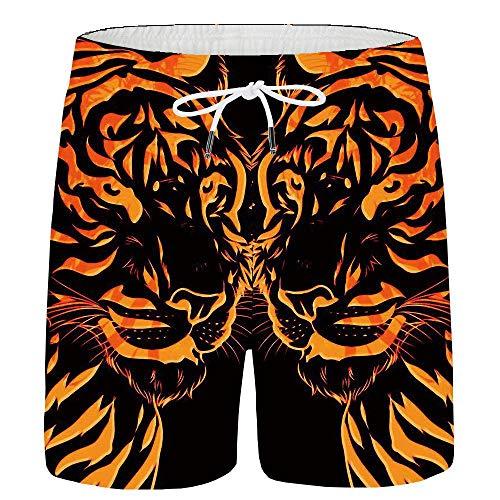 HuoZhog Pantalones Cortos Pantalones Cortos de Tigre de los Hombres An