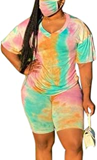MAYFASEY Women's Sexy Two Piece Outfits Tie Dye Short Sleeve High Waisted Tummy Control Shorts Pants Set Athletic Tracksui...