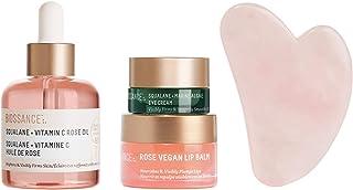Biossance Radiant Beauty Collection Kit - 4-Piece Facial Set - Moisturizing Squalane + Vitamin C Rose Oil, Rose Lip Balm, ...