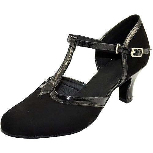 Fifly Womens Comfort Latin Modern Tango Cha-cha Custom Heel T-bar Closed-