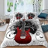 HSBZLH Funda De Edredón Blanco Funda Edredón Guitarra 3 Piezas Funda Nórdica Música Rock Ropa Cama Guitarra Eléctrica Roja Funda Edredón En Espiral Negra Decoración Habitación Niños Funda Nórdica