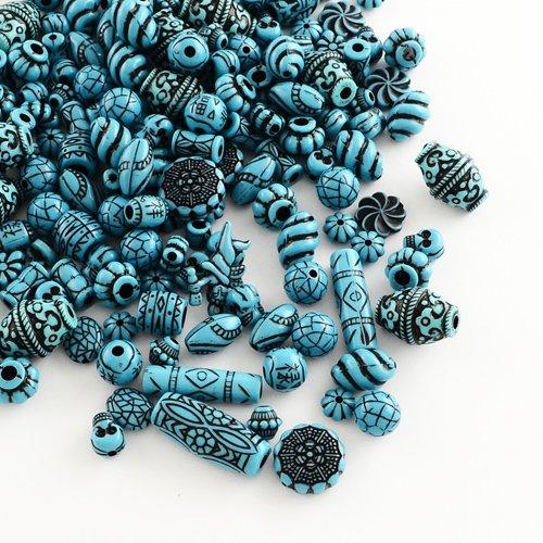 Charming Beads Acrilico Perline Ciano/Nero Misto 15-25mm Pacco di 30g