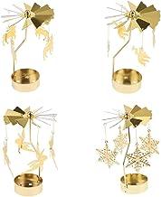 HOMYL Christmas Rotating Candleholder Tealight Candlestick Home Centerpiece Xmas Parties Decor 4-Set - 4-Set B
