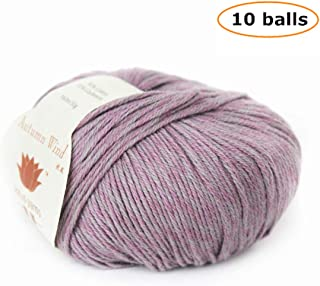 10X50g Balls Lotus Yarns Autumn Wind 90% Cotton 10% Cashmere Fingering Weight Hand Knitting/Crochet Yarn for Fashion Garments Baby Clothes (18-Lilac)