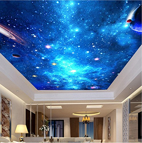 Weaeo Benutzerdefinierte 3D Fototapete Deckengemälde Wohnzimmer Schlafzimmer Bar Decke Hintergrund Wall Decor Wallpapers Home Galaxy Sternenhimmel-400X280Cm