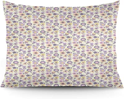 Gultmee Throw Pillow Cushion Cover Graphic Stylized Flowers As Daisies And Tulips With Stems And Leaves Illustration Decorative Standard Queen Size Printed Pillowcase 14 X20 Home Kitchen