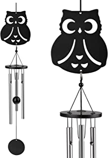 Coulky Owl Wind Chimes Cute Owl Tag & Beautiful Striker Ball Smoothing Melodic Tones Minimalism Chimes for Patio Porch Garden Backyard