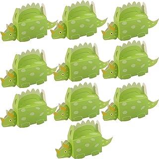 11 presentförpackningar för dinosaurier, festklappar, gröna och blå godisar eller små presenter