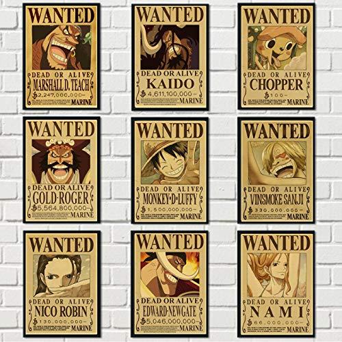 WPLSKY Dessin animé Japonais Anime Luffy et Partenaires Prime Toile Affiche Famille décoration Toile Peinture Maternelle Enfants Chambre Impression Murale 40x50 cm 9 pièces