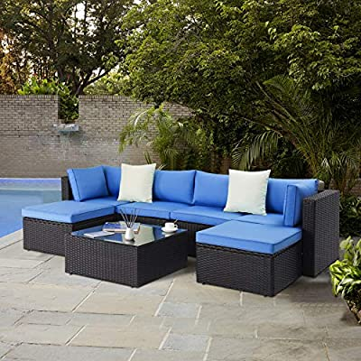 LEMBERI 7 Pieces Outdoor Furniture Patio Conversation Sets, All Weather Wicker Sectional Sofa Couch Lawn Sectional Furniture with Washable Couch Cushions and Glass Table(Dark Blue)