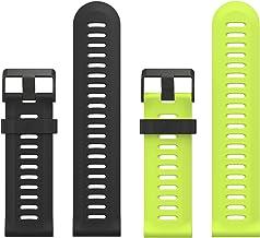 MoKo Pulsera para Garmin 3/3 HR/Fenix 5X/5X Plus/D2 Delta PX, Fenix 6X/6X Pro, [2 Pzs] Correa Pulsera de Silicona Respirable y Reemplazable, Banda de Reloj Deportivo - Negro & Verde