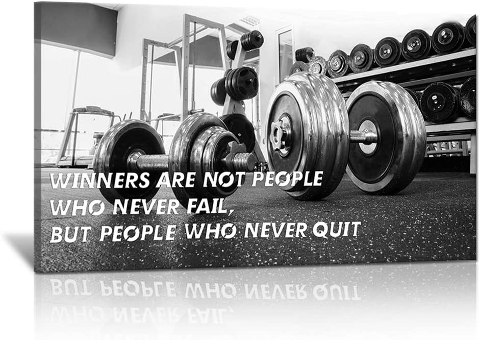 Modern Inspirational Black and White Canvas Wall Art Winners Are Those Who Never Quit Gym Poster Pictures Fitness Paintings Dumbbell Artwork for Living Room Framed Stretched Ready to Hang 36