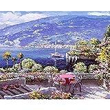 油絵 数字キットによる絵画 大人 子供と初心者 ハーバーチェア キットによる絵画 塗り絵 手塗り DIY絵 デジタル油絵 40x50センチ (フレームレス)