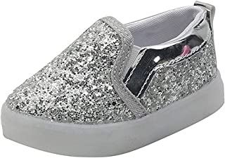 Hopscotch Baby Girls Synthetic Applique Art Printed Led Slip On in Silver Color