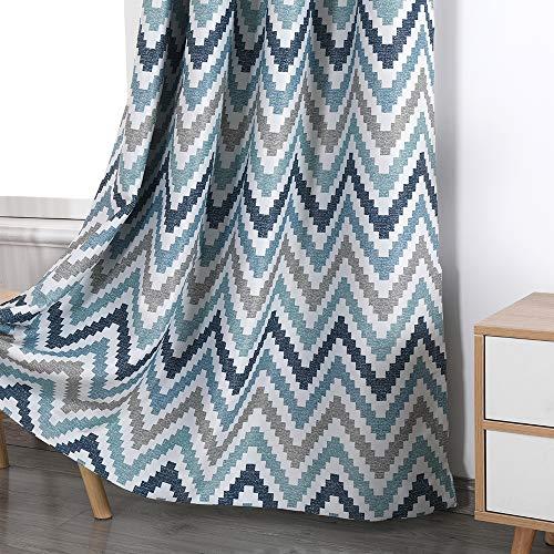 Autumn Dream Chevron Bohemian Blackout Curtains, Linen Texture Grommet Top Curtains Drapes for Living Room, Bedroom, Blue (52by63, Blue)