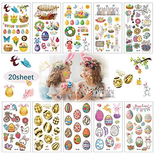 20 fogli tatuaggi per bambini glitter,ragazzi,ragazze Animali fantastici Set regalo pasquale,tatuaggi temporanei bambini maschi con uova, coniglietto, pulcino,8 anni