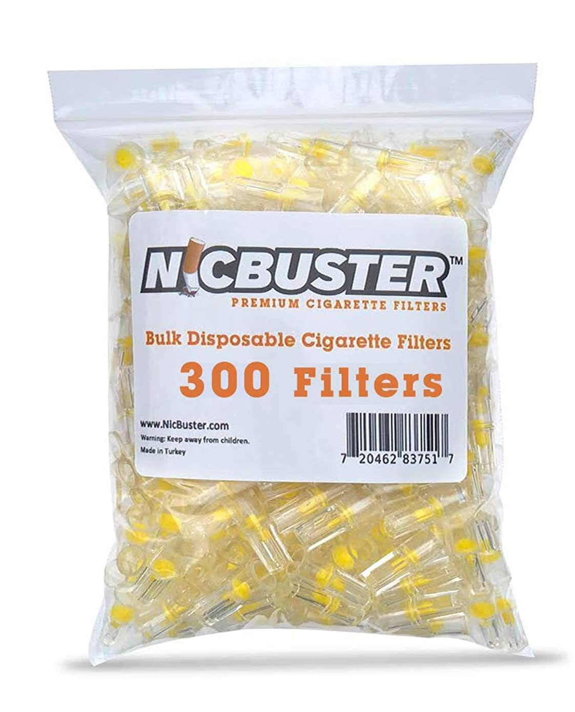 NICBUSTER Disposable Cigarette Filters Bulk Economy Pack, 300 Filters