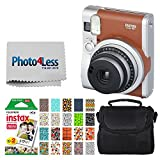 Fujifilm INSTAX Mini 90 Neo Classic Instant Camera (Brown) + Fujifilm Instax Mini Instant Film (20 Exposures) + Compact Camera Case + Sticker Frames Sports Package + Photo4Less Cleaning Cloth
