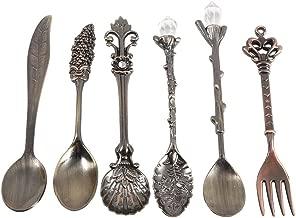 6Pcs/Set Flatware Vintage Spoon Dessert Coffee Mixing Spoon Teaspoon Ice Cream Spoon Fruit Fork Royal Style Metal Mini Carved Tableware Fruit Spoon for Kitchen Dining Bar Sweet Snacks(Antique Brass)