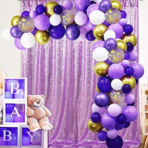 GuassLee 135 Pieces Purple Gold Balloon Arch Garland Kit, Purple Gold White Confetti Balloon for Weeding Birthday Baby Shower Graduation Party Decorations