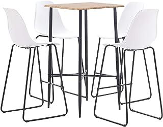 pedkit Conjunto de Mesa sillas,Mesa Salón y Sillas,Muebles de Jardin Exterior Conjuntos Juego de Mesa Alta y taburetes 5 Piezas plástico Blanco