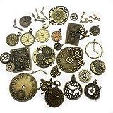 30pcs Antique Bronze Mix Skeleton Steampunk Clock Face Watch Gear Cog Wheel Pendant Charms Jewelry Making DIY Steampunk Gear Pendant Charms Wholesale (M071)